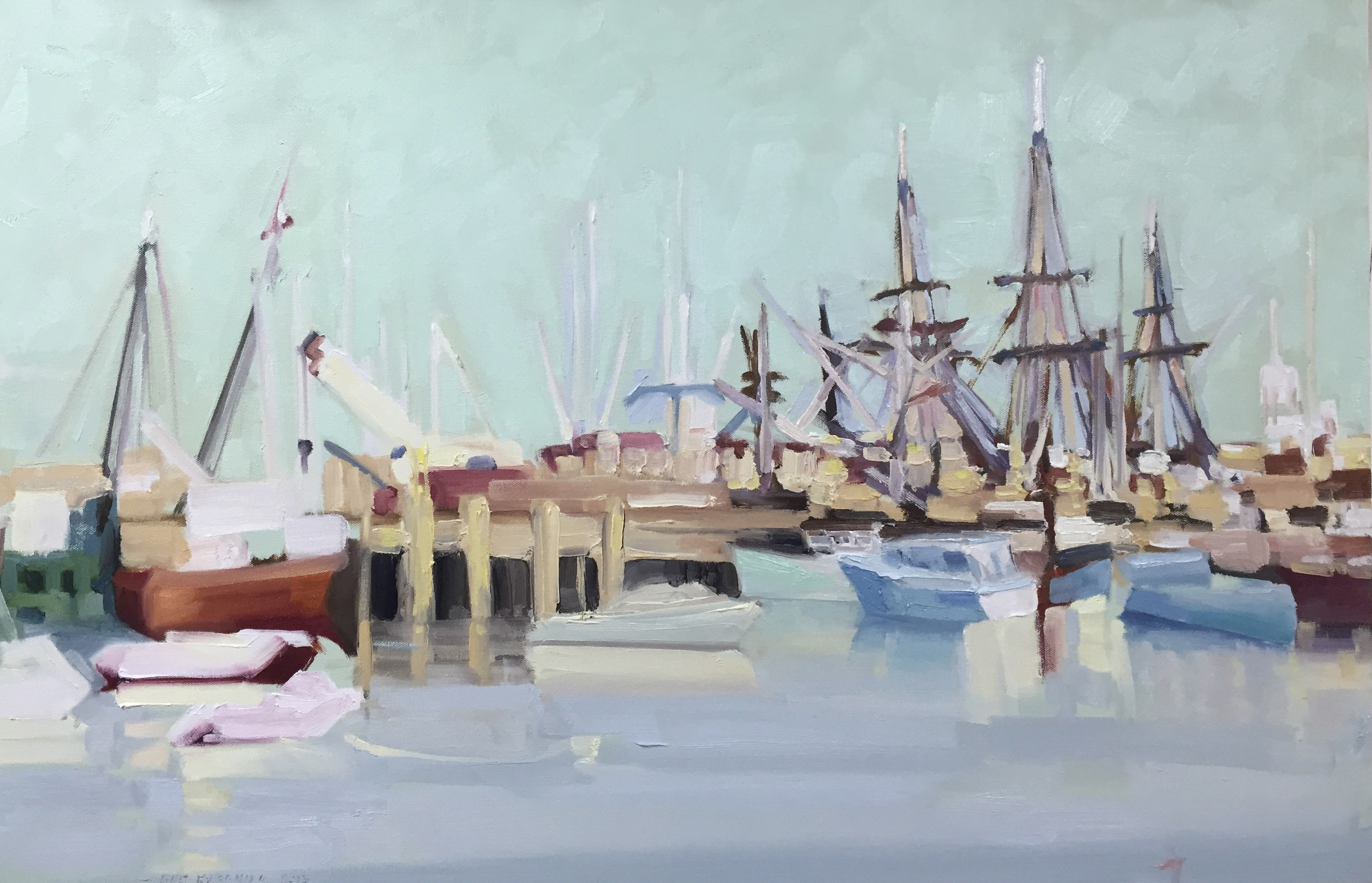 Harbor Boats Simply Seen, 36 x 24 Oil on Canvas IMG_8051